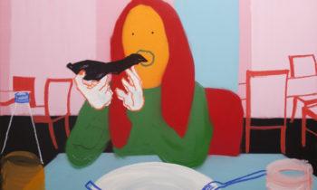 Stefania Ruggiero, Giropizza, 2016, spray, acrilico, pastello a olio e marker su tela, 70x100 cm