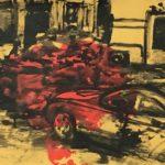 Michael Rotondi, Mota #1, 2018, acrilico e smalto su carta paglia intelata, 29,7x42 cm