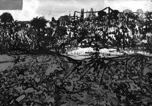 Michael Rotondi, Mota #14, 2018, smalto su carta, 70x100 cm