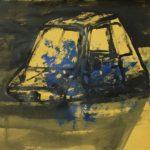 Michael Rotondi, Mota #3, 2018, acrilico e smalto su carta paglia intelata, 29,7x42 cm