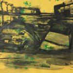 Michael Rotondi, Mota #8, 2018, acrilico e smalto su carta paglia intelata, 29,7x42 cm
