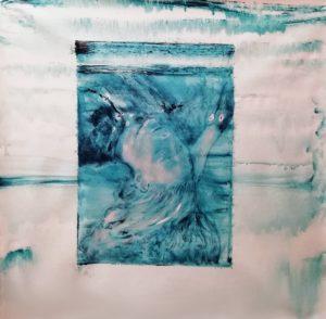 Animale Senza Cornice Foto Muro blu pesci che vivono in acqua Tela dipinto ad olio nuovo